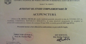 CABINET MEDICAL DR. BOTEA - Psihoterapie, acupunctura, neurologie si terapie alternativa Diploma3